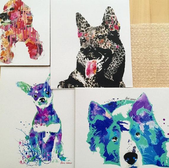 Wasserfarben Hunde Bild mit einem Mix verschiedener Hunderassen