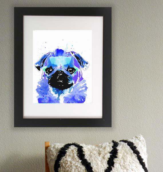 Mops als Wasserfarben Hunde Bild