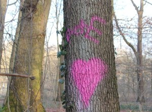 Me auf einen Baum gesprüht mit Graffiti