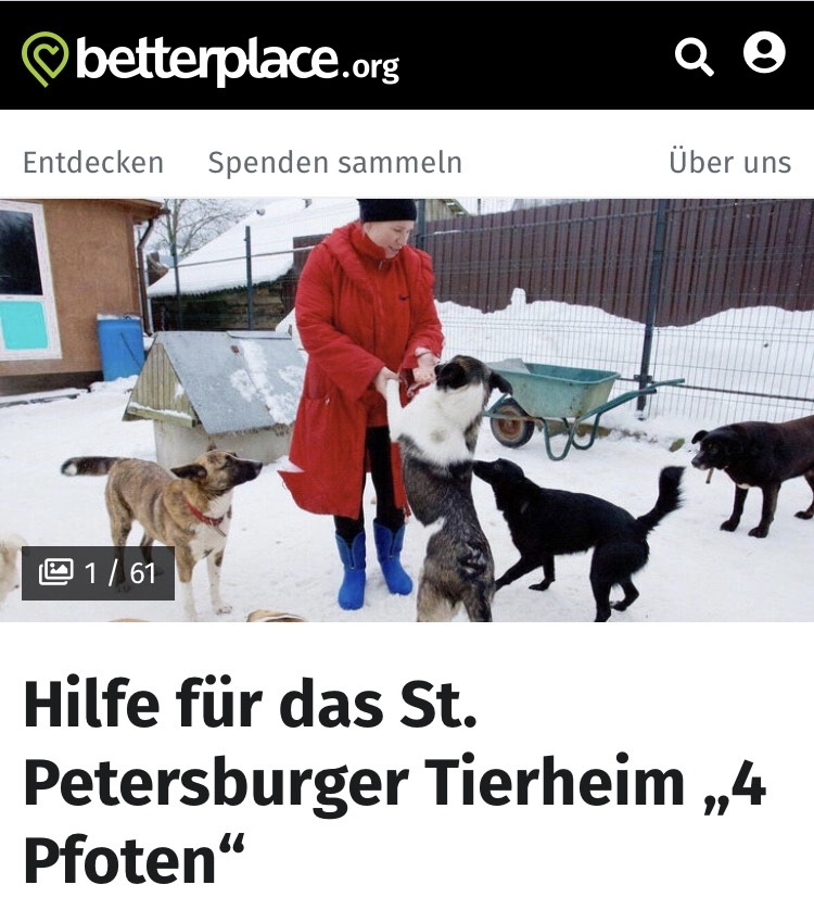 Hilfen für das St. Petersburger Tierheim