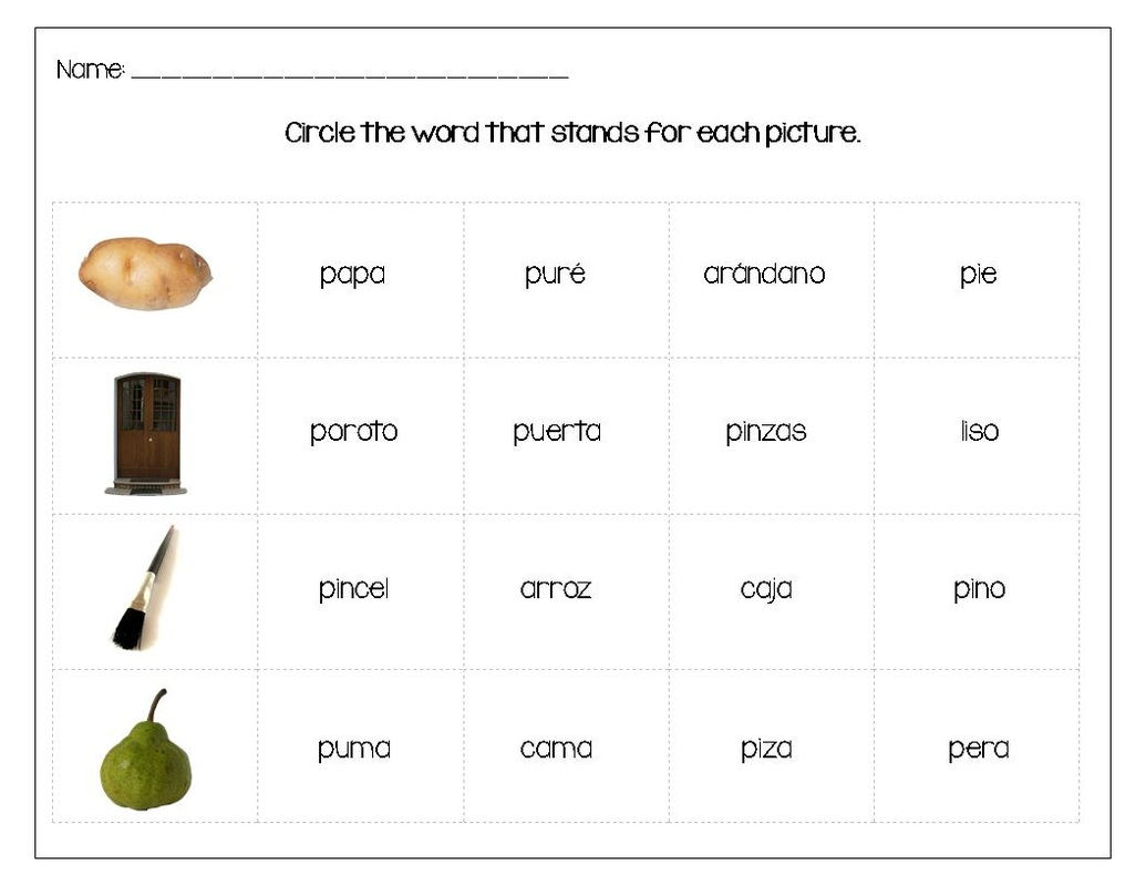 English Worksheet En Espa Ol