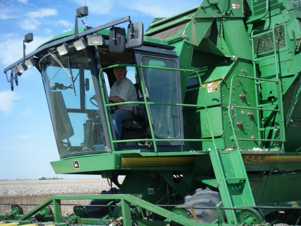 Daniel in the cotton harvester