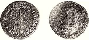 Medaillon des römischen Kaisers Caracalla; gefunden auf dem Hundsänger Friedhof (Originalgröße ∅ 4,3 cm).