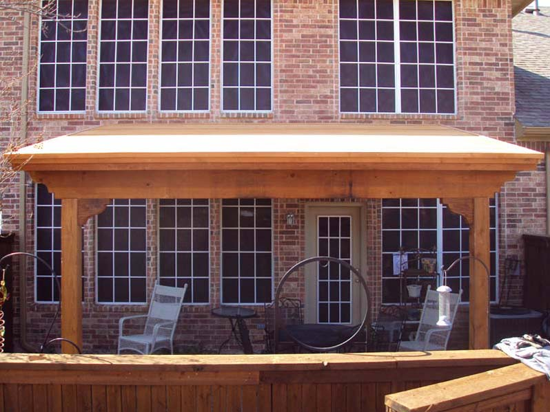 Slanted Patio Cover Attached To Brick Hundt Patio Covers