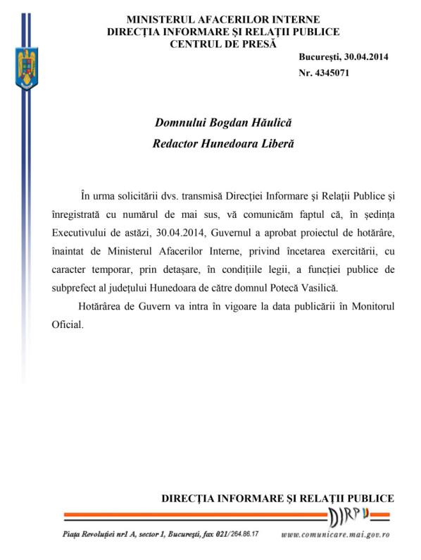 Raspuns Hunedoara Libera subprefect-1