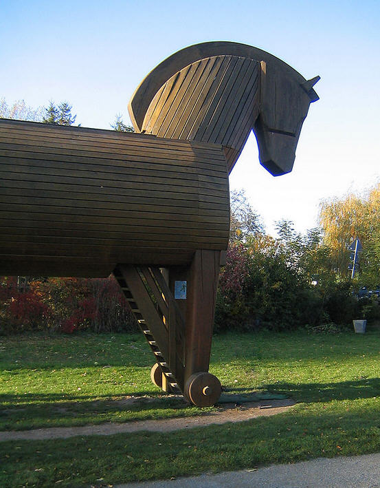 Depiction of the Trojan Horse at the Schlilemann Museum in Akershagen, Germany