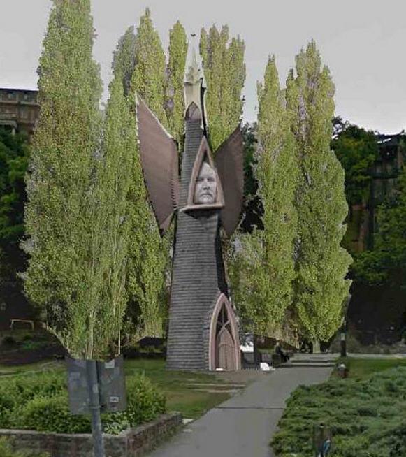 Miklós Melocco's Makovecz Monument as imagined by József Őrfi
