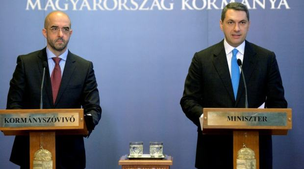 Zoltán Kovács and János Lázár announcing the government version of the recruitment of terrorists in Budapest