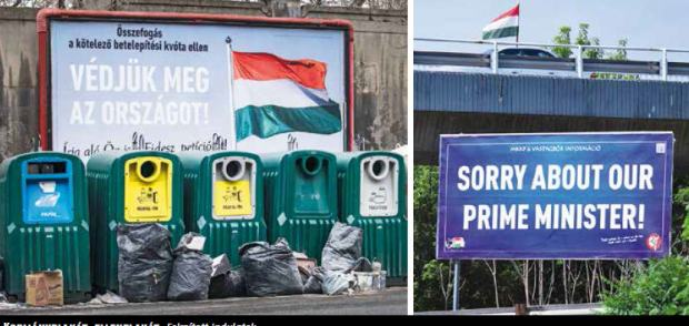 Government and opposition billboards on the migrants