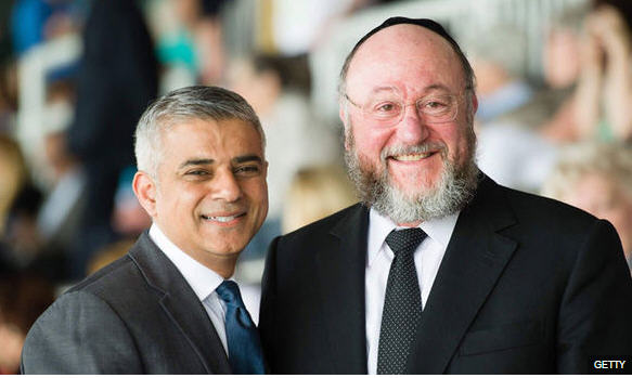 Mayor Sadiq Khan and Chief Rabbi Mirvis. They seem to be getting along fine