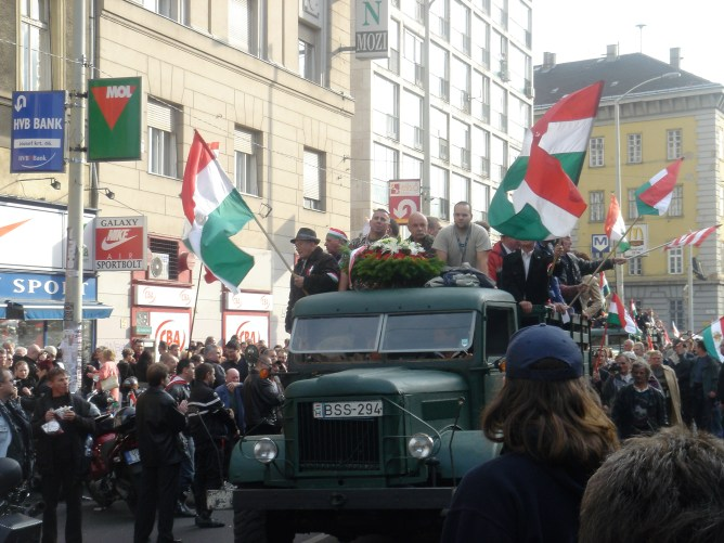 Anti-government demonstrators proceed toward the Hungarian Parliament Building on the 50th anniversary of the 1956 Hungarian Revolution (10/23/2006)
