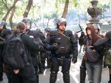 Riot cops detain anti-gay demonstrators at the Budapest Pride parade (7/5/2008).