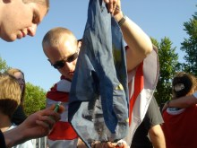 Burning a European Union flag during Romantic Violence concert at Jobbik May Day celebration (4/30/2007).