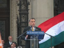 Prime Minister Viktor Orbán speaks to supporters shortly after taking his oath of office at the Hungarian Parliament Building (5/29/2010).