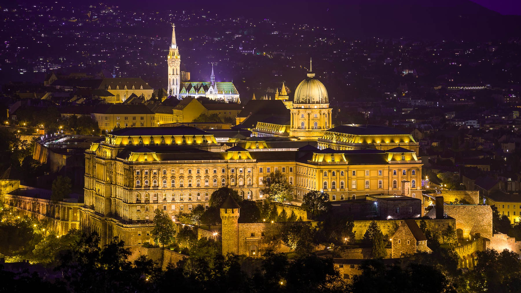 Mathias Church and Buda Castle at night