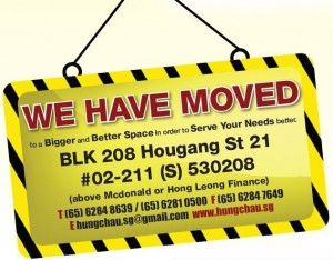 We have moved to Blk 208, #02-211