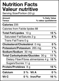 Real Food Bar Sticky Squirrel - Nutrition