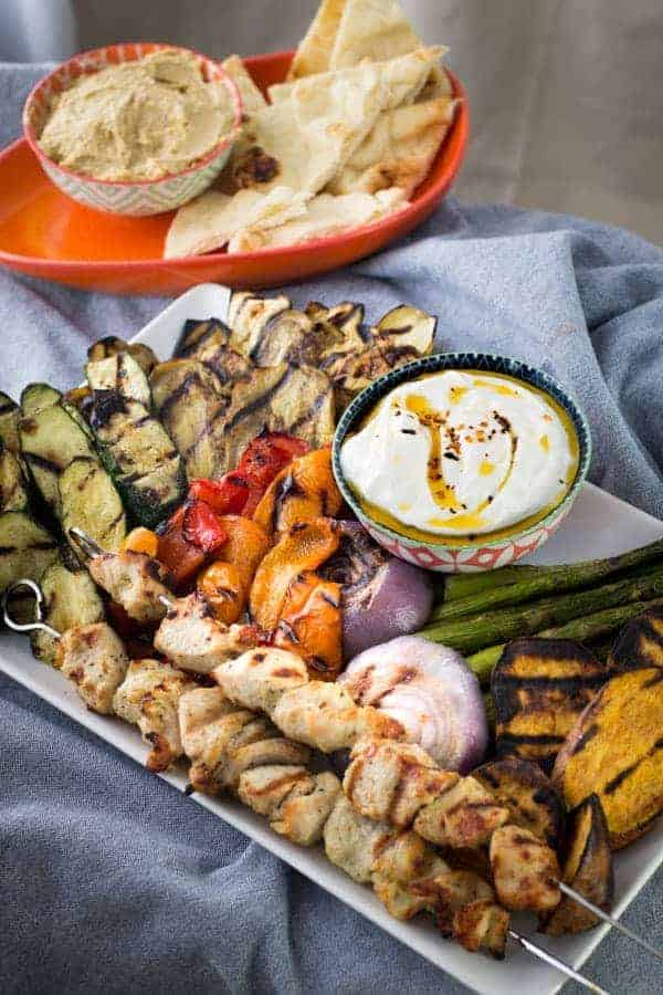 Grilled Vegetables & Chicken Kebab | Spicy Yogurt Sauce