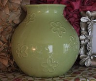 """8""""H Light Green Flower Vase $8.00 This adorable vase has been Loved Before, and you will love it too for a pop of color and shine!"""