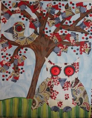 """""""Emma"""" 14""""x11"""" Canvas Owl Custom Art $139.00 Multi-texture, handmade art Frame ready print also available $19.50"""