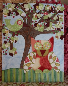 """Margaret"" 14""x11"" Canvas Owl Custom Art $139.00 Multi-texture, handmade art Frame ready print also available $19.50"
