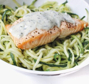 Salmon with Zoodles with Cucumber Dill dressing