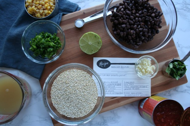 overhead shot of all ingredients in Mexican Quinoa recipe