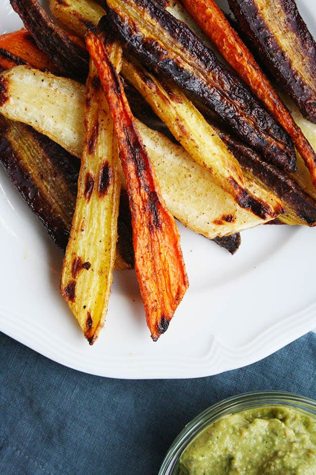 an overhead zoomed in look at the crispy edges of the roasted rainbow carrots