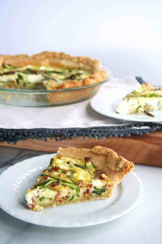 The perfect slice - Spring Quiche with Asparagus, Pancetta, and Goat Cheese | Hungry by Nature
