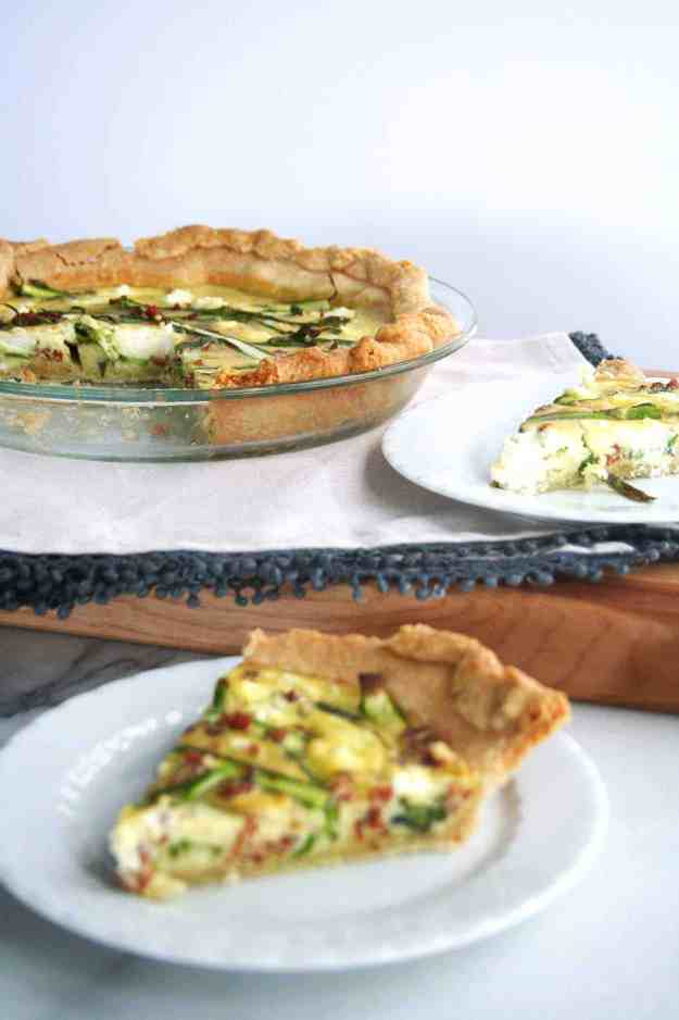 A spring quiche filled with ribboned asparagus, pancetta, and goat cheese - perfect for Sunday brunch. | hungrybynature.com