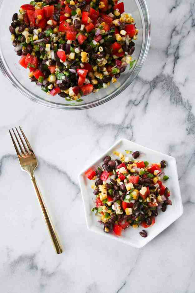 charred corn salsa with bowl