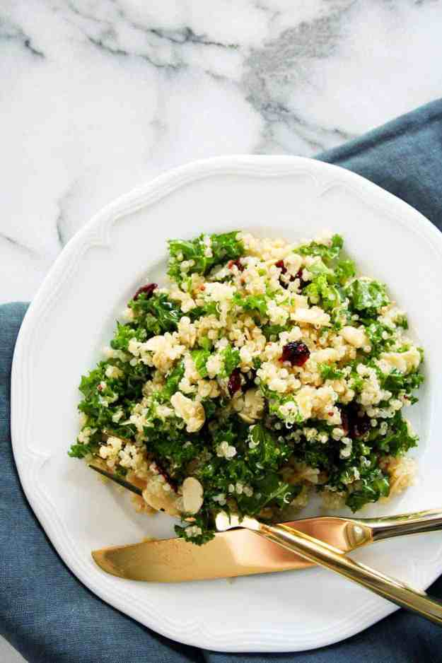 Kale Cranberry and Almond Quinoa Salad with Lemon Vinaigrette | hungrybynature.com