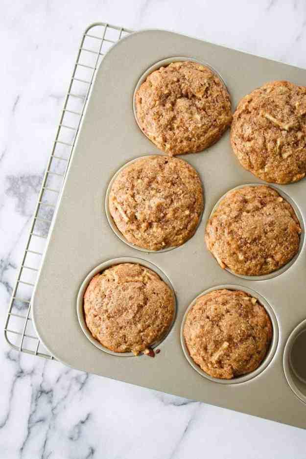 apple cinnamon protein muffins overhead angle