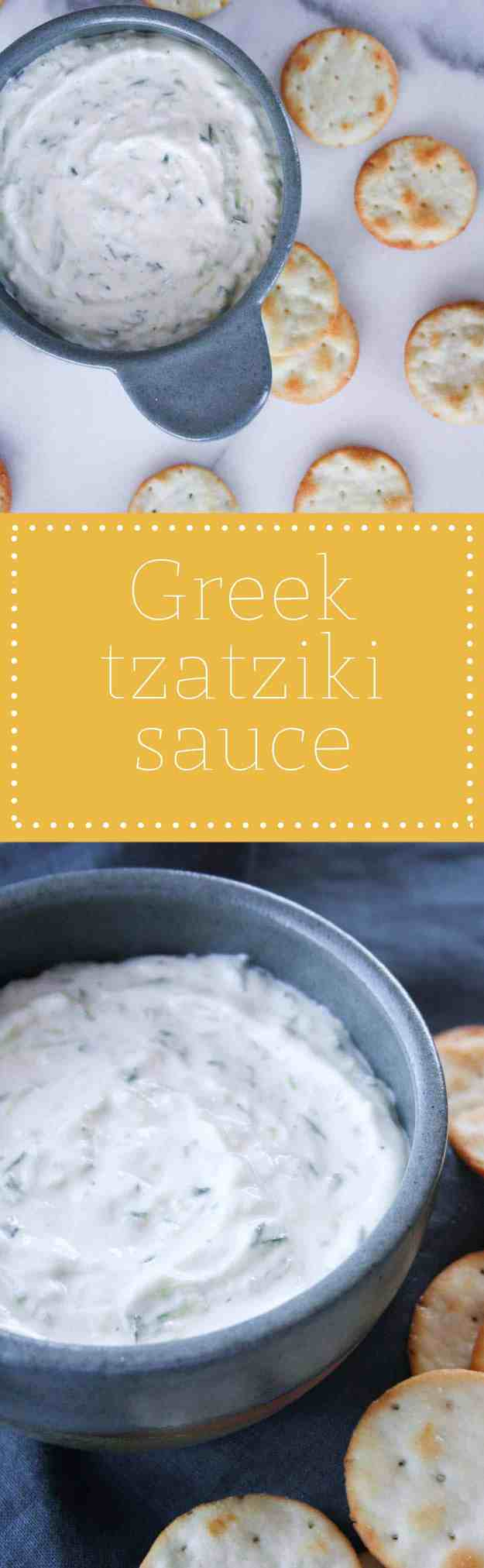 Greek Tzatziki Sauce - perfect with kebabs or gyros!   Hungry by Nature