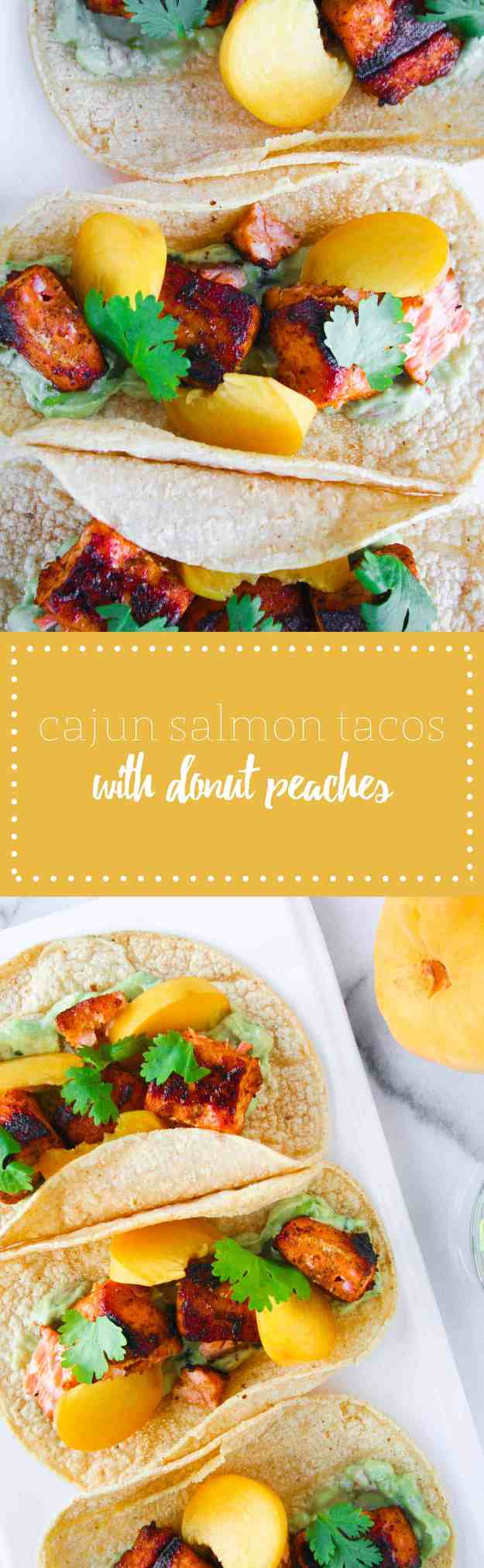 A quick and easy weeknight dinner - Cajun Salmon Tacos! | hungrybynature.com