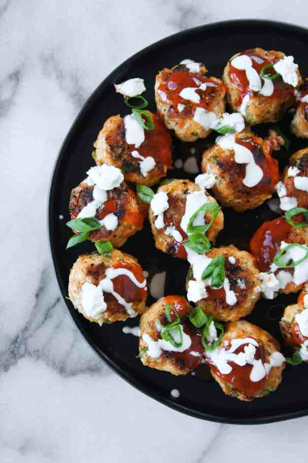 Gameday buffalo chicken meatballs bring the HEAT for football season. | Hungry by Nature