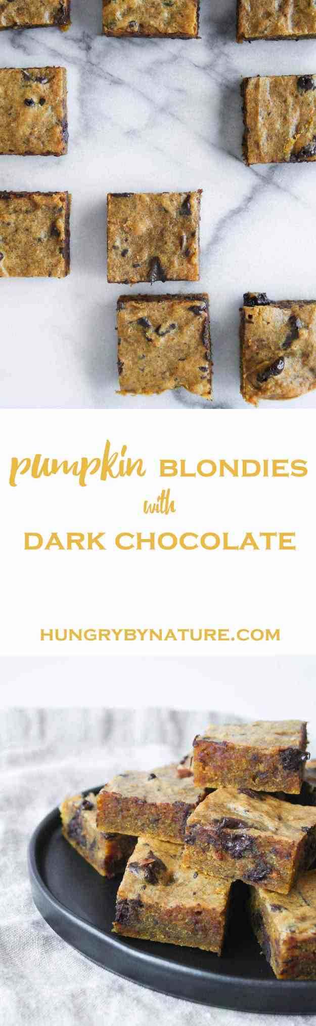 Pumpkin Blondies with Dark Chocolate Chunks! | hungrybynature.com