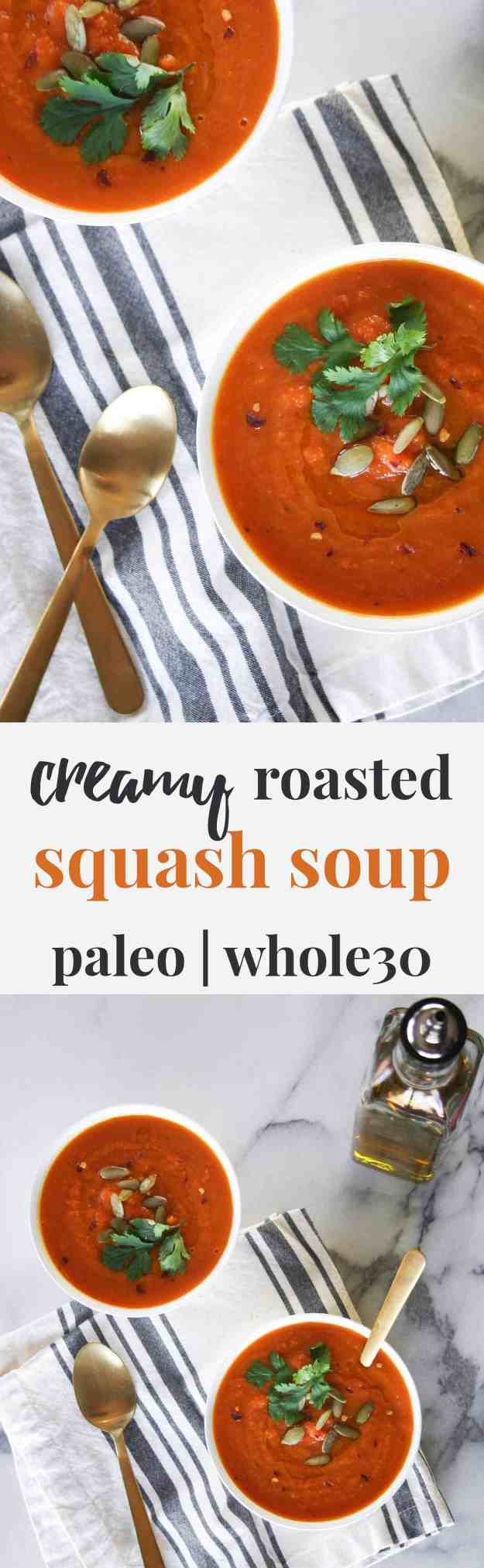 Creamy roasted squash soup combines roasted butternut squash and carrots to make a creamy (but creamless!) paleo and Whole30 compliant soup! | hungrybynature.com