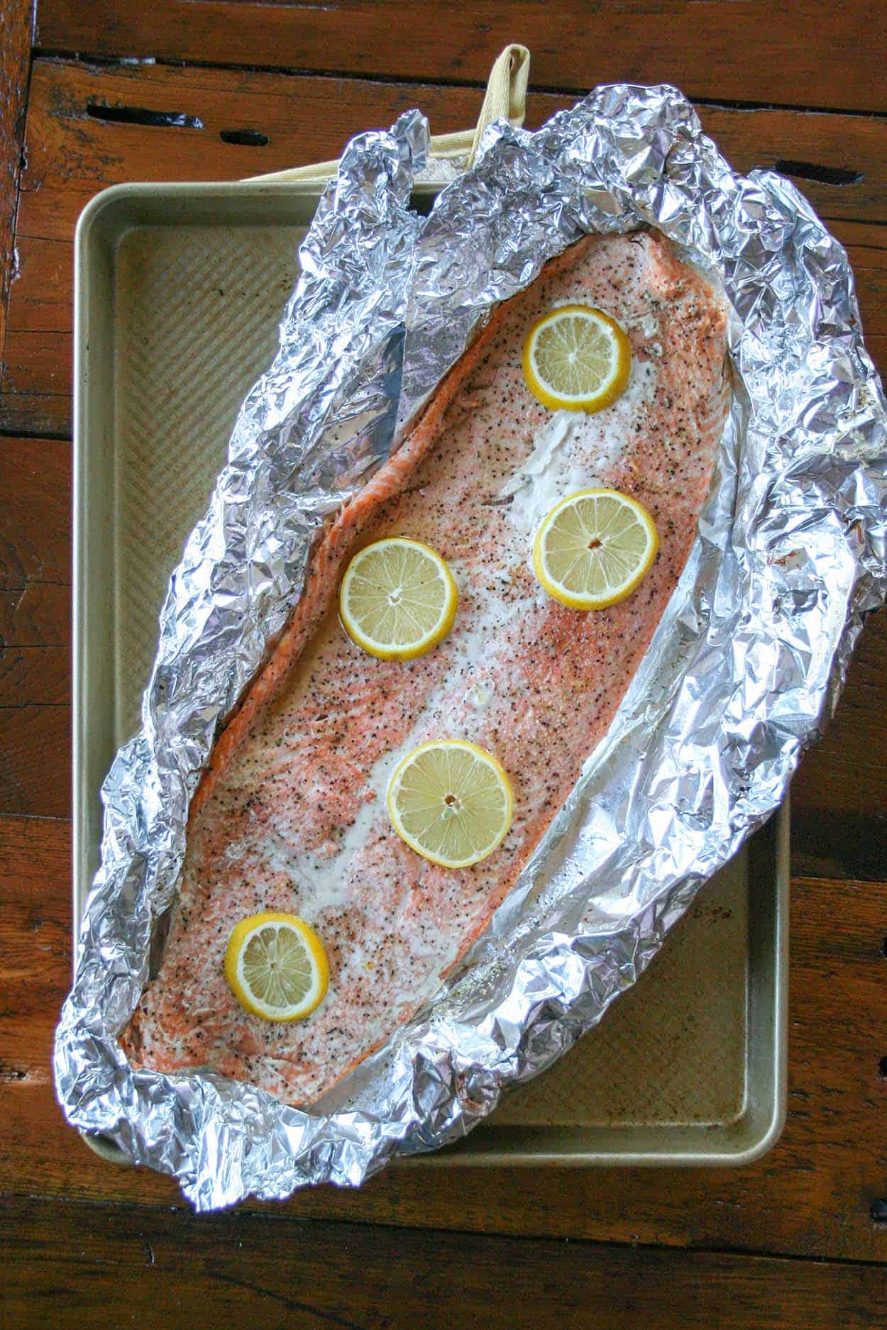 Whole30 Roasted Lemon Salmon In Foil Hungry By Nature