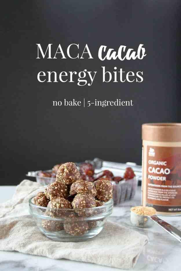 Maca Cacao Energy Bites - 5-ingredients, no bake, protein bites, maca, cacao, dates.   hungrybynature.com