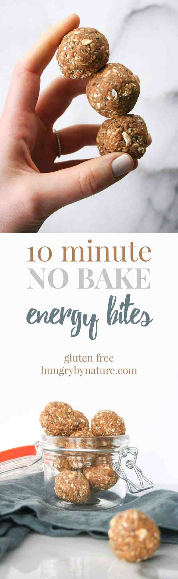 10 Minute No Bake Energy Bites | protein, easy, healthy, gluten free, chia, dates | hungrybynature.com