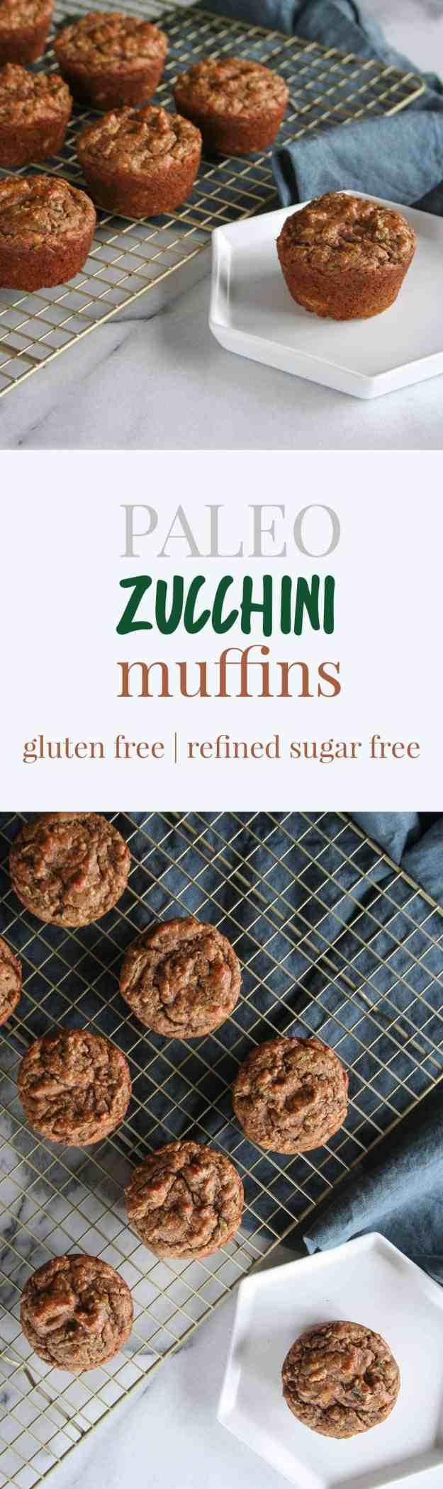 Paleo Zucchini Muffins | gluten free, grain free, refined sugar free, Whole30, easy, healthy, banana, almond butter, baking | hungrybynature.com