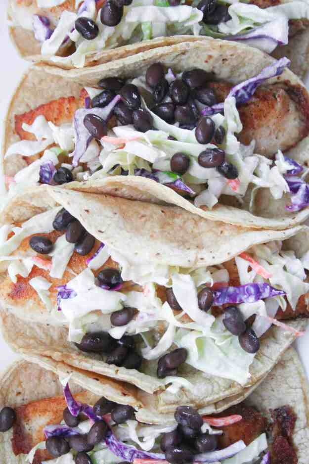 Fish Tacos with Cilantro-Lime Cauliflower Rice   cabbage, tilapia, easy, crispy, healthy, recipe   hungrybynature.com