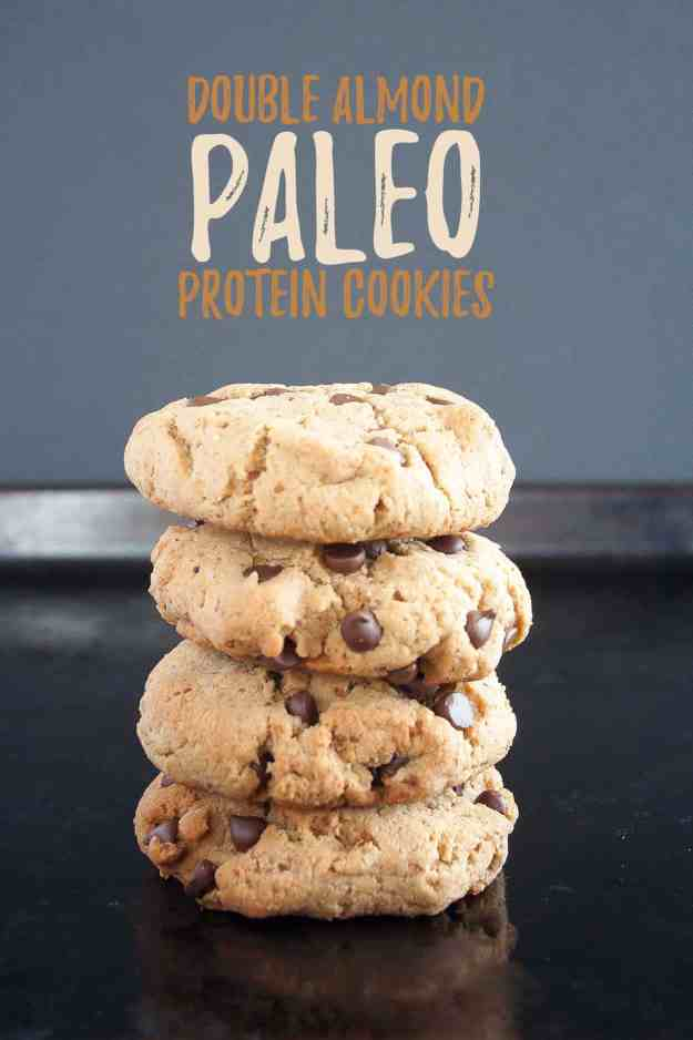 Double Almond Paleo Protein Cookies | Nuzest, healthy, recipes, one bowl, gluten free, grain free, dairy free, easy, almond flour, chocolate chips | hungrybynature.com