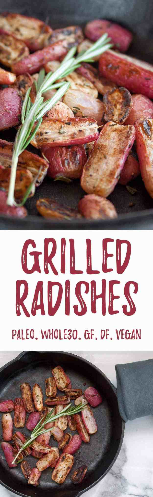 Grilled Radishes with Rosemary & Thyme | grilled vegetables, cast iron skillet, easy, roasted radishes, grilled radish recipe, herbs, paleo, whole30, diary free, gluten free, vegan | hungrybynature.com