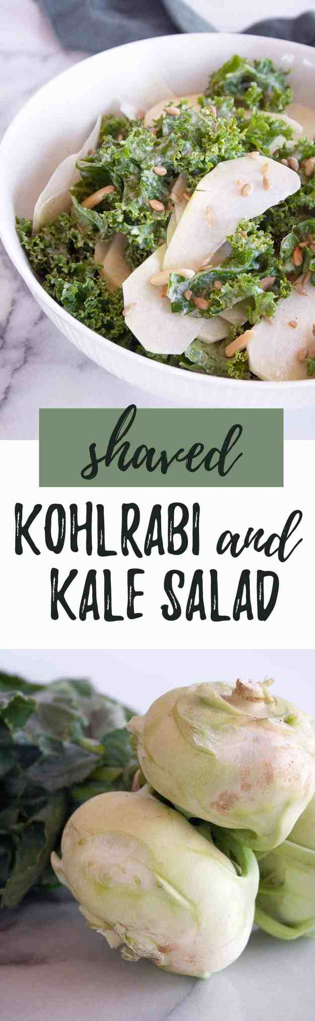 Shaved Kohlrabi and Kale Salad with Lemon-Tahini Dressing | kohlrabi recipe, raw, spiralized, easy, healthy, gluten free, dairy free, paleo, vegan, whole30 | hungrybynature.com