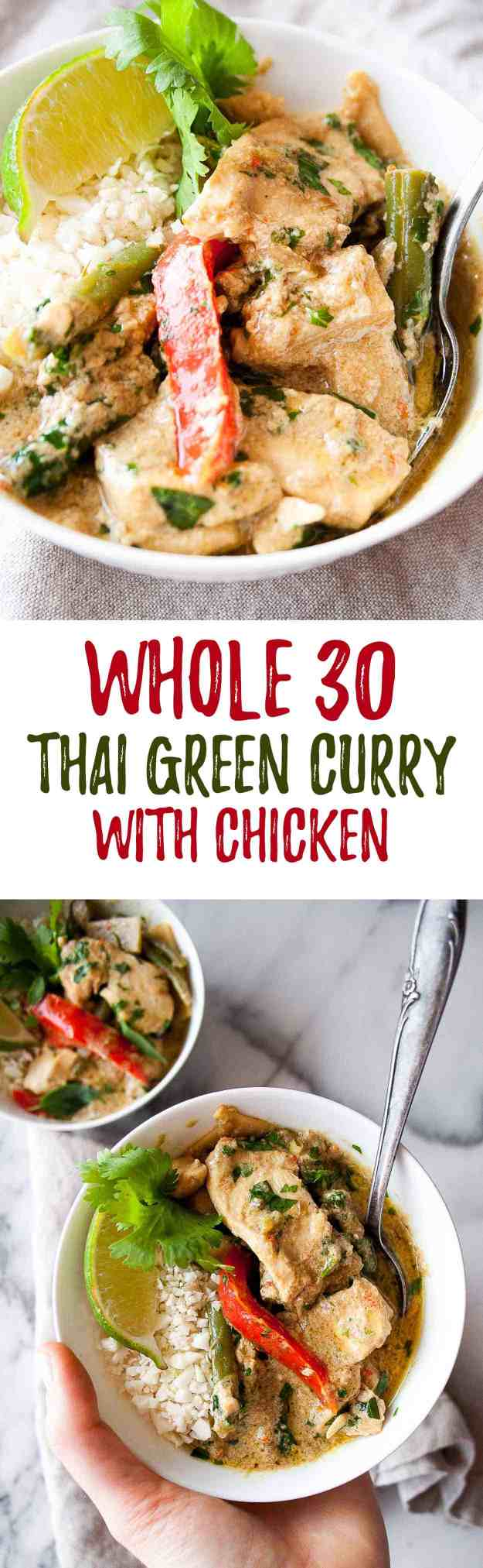 Whole30 Green Curry with Chicken | Thai, recipe, easy, paleo, gluten free, grain free, diary free, curry paste, coconut, sauce, coconut butter | hungrybynature.com