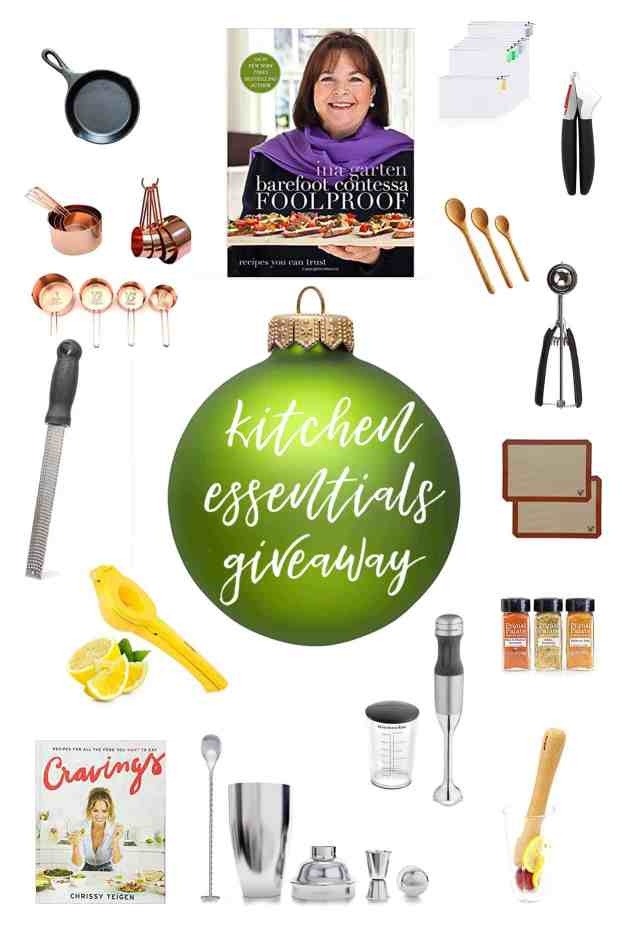 Kitchen Essentials Holiday Giveaway | #castiron #measuringcups #microplane #juicer #cravings #cocktailshaker #immersionblender #muddler #primalpalate #siliconebakingsheets #cookiescoop #woodenspoons #garlicpress #producebags #inagarten | hungrybynature.com