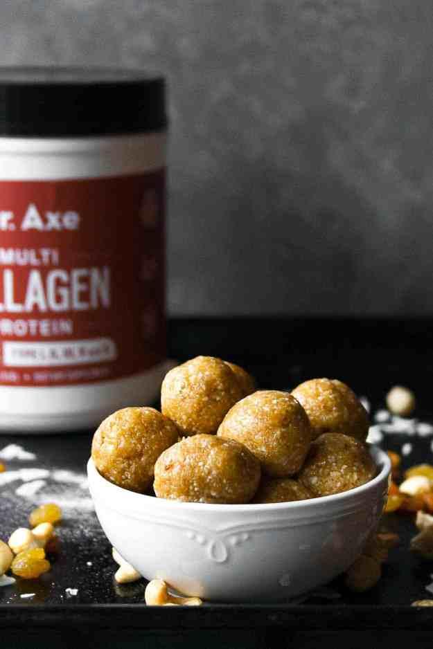 Whole30 Golden Raisin Cashew Energy Bites | #ad #axecollagen #whole30 #januarywhole30 #whole30approved #cashew #goldenraisin #energybite #proteinball #vanilla #nobake
