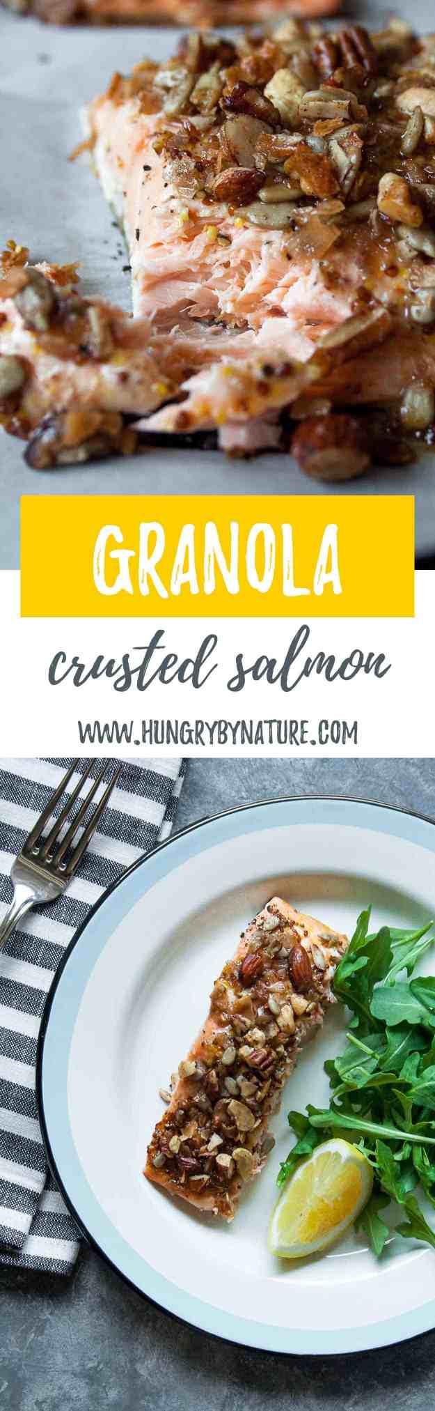 Grain Free Granola Crusted Salmon | #oven #baked #easy #paleo #recipe #honey #mustard #20minutes | www.hungrybynature.com